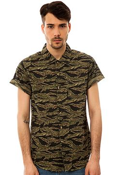 The Destroyer Buttondown Shirt in Tiger Camo by Obey