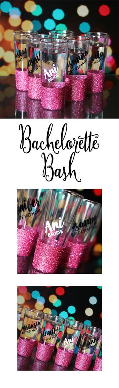 glitter shot glasses are the perfect send off for the bride to be and her tribe