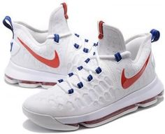 the latest 1a7b4 e1410 Nike Zoom KD9 Mens Basketball Shoes - White Blue Red3 Kd Shoes, Shoes