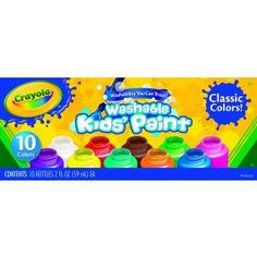 Crayola Washable Kids Paint 10 Ct. Washable Kids Paint, 2-Oz. Bottles - 54-1205