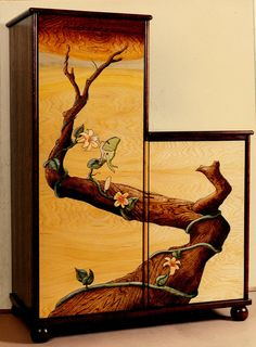 """Old found cabinet given new life with intarsia doors. This is my style of intarsia, it's called """"flat panel"""" intarsia. I inlay the background with panel. Woodworking Bar Clamps, Fine Woodworking, Chip Carving, Wood Carving, Intarsia Patterns, Wooden Pattern, Intarsia Woodworking, Paint Finishes, Painted Furniture"""