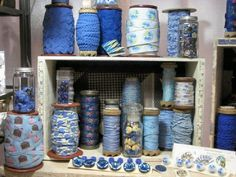 Blue and Green Collection from Nifty Thrifty Dry Goods. Buttons, ribbons, trims and more.