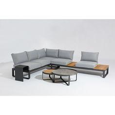 Modernes Lounge-Set ✓ kombiniert Aluminium mit Teakholz ✓ hochwertige Verarbeitung ✓ hoher Sitzkomfort ✓ Jetzt online bestellen und Versandkosten sparen!