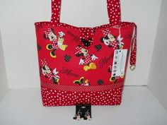 Handbag Tote Purse Minnie Mouse Love to Shop fabric Handmade Large Mickey Mouse Quilt, Minnie Mouse, Kids Tote Bag, Hipster Bag, Disney Purse, Handmade Purses, Sewing Leather, Wallet Pattern, Crochet For Boys