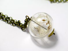 I love to wear that little piece of dandelion! Bronze Ring, Silver Rings, Dandelion Necklace, Resin Jewelry, Jewellery, Handmade Sterling Silver, Glass Beads, Fashion Accessories, Jewelry Design