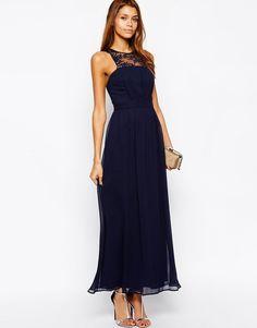 Elise Ryan Maxi Dress with Scallop Lace Trim Size 10