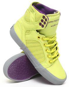 Buy Skytop Yellow Mesh Purple Lined Hightop Sneakers Women's Footwear from Supra. Find Supra fashions & more at DrJays.com