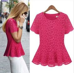 Style Woman O Neck Short Sleeve Solid Red Cotton Blouse Girls Party Wear, Party Wear Dresses, Latest Top Designs, Vestidos Sexy, Cotton Blouses, Blouses For Women, Ladies Blouses, Casual Tops, Fashion Dresses