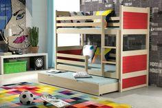 Kinder-Etagenbett mit 3 Matratzen #rot
