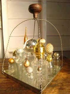 Old Bottles + Vintage Christmas Ornaments = Vanity Collection