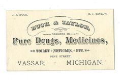 Old Business Card Buck & Taylor Pure Drugs Medicines Vassar Michigan