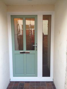 UPVC front door in Chartwell Green Green Front Doors, Front Door Colors, Chartwell Green Front Door, Dark Doors, Aluminium Windows And Doors, Rural House, Love Home, House Numbers, House Colors