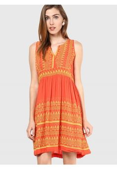 Viscose Orange Coloured Embroidered A-Line Dress