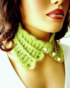 Hand Crochet Lemon Green Neckwarmer Hand made Light by Pasin