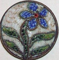 Antique Micro Mosaic Button - Violet Flower, Plant Life Mosaic