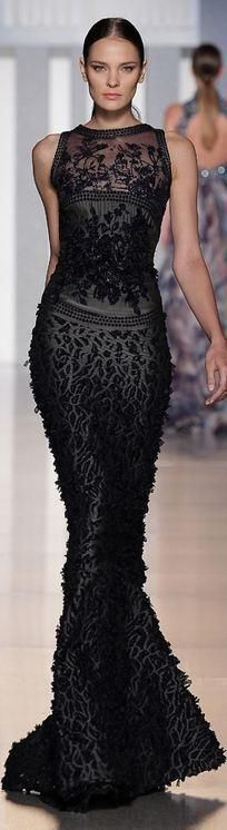 Tony Ward wow what a sillhouette! #black #evening gown