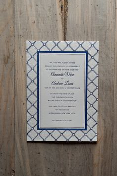 Navy Wedding Invitations, letterpress