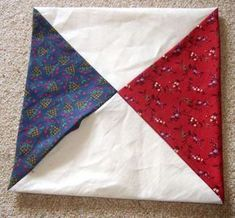 Reversible Quilt As You Go---from four patches you get hour glasses, batting inside---one seam to finish. Triangle Quilt Tutorials, Quilt As You Go, String Quilts, Small Quilts, Quilting Projects, Quilt Patterns, Patches, Scrap, Glasses
