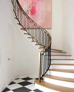 Wood and metal spiral entryway staircase jenkins interiors stairs лестница Diy Staircase Railing, Wood Stair Treads, Metal Stairs, Wooden Stairs, Modern Staircase, Staircase Design, Wrought Iron Stairs, Railing Ideas, Banisters