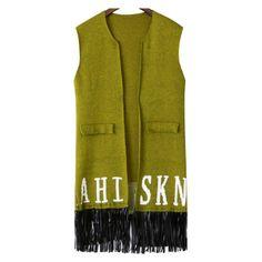 Letter Print Tassel Pockets Green Vest ($23) ❤ liked on Polyvore featuring outerwear, vests, vest waistcoat, pocket vest, green waistcoat, pattern vest and green vest