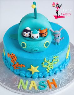 Lily asked for an Octonaut Birthday party this year...  This would make a great cake!!