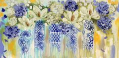 AJ Brooks paintings 3, contemporary floral ''bathed in sunshine '' 750 x 1500 mm