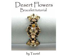 Desert Flowers, beadvowen bracelet -Tile beads - Fire Polish - Swarowski crystals - Seed beads size 15 and 8 (Miyuki or Toho) - scissors - nylon thread - clasp Beaded Braclets, Beaded Jewelry, Bracelets, Necklaces, Beading Tutorials, Beading Patterns, Twin Beads, Desert Flowers, Flower Bracelet