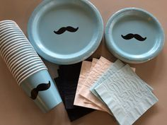 24 Set Mustache Party Plates - Stache Bash, Moustache Theme Party, Mustache Bash, Little Man Baby Shower, Birthday Plates, Bachelor Party