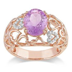 Miadora Pink Silver Rose de France and Diamond Accent Ring (G-H, I3) (Size 9), Women's, Multi