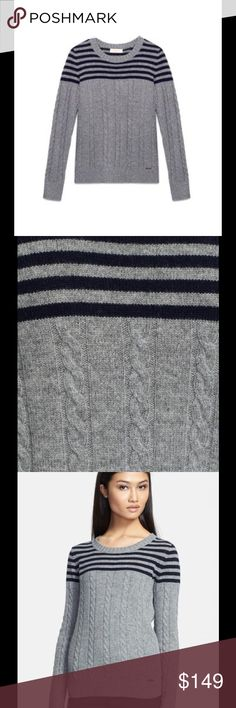 """Tory Burch Sharlene sweater merino wool Ultrafine merino wool yarns update a crewneck cable-knit sweater with high-quality softness. Bold stripes draw the eye upward to figure-flattering effect. 24 1/2"""" length. Ribbed neck, cuffs and hem. 100% merino wool. Brand new with tag. Retail price $275. Tory Burch Sweaters Crew & Scoop Necks"""