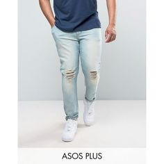 ASOS PLUS Super Skinny Jeans With Knee Abrasions In Bleach Blue ($41) ❤ liked on Polyvore featuring men's fashion, men's clothing, men's jeans, blue, mens blue jeans, mens tall jeans, mens ripped jeans, mens super skinny jeans and mens blue ripped jeans