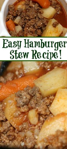 This easy frugal Hamburger Stew Recipe is perfect to make for busy weeknights! Plus its the perfect frugal meal to make with vegetables and ground beef! Frugal Meals, Easy Meals, Frugal Recipes, Hamburger In Crockpot, Easy Recipes With Hamburger, Hamburger Meat Recipes Ground, Easy Stew Recipes, Ground Beef Crockpot Recipes, Ground Beef Stews