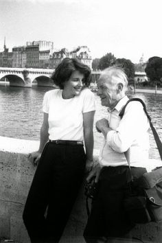 Robert Doisneau and Juliette Binoche in Paris, 1991