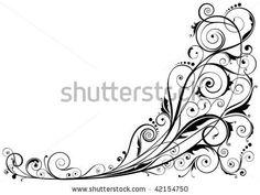 Detailed floral design ornaments, black colored. by Milen , via Shutterstock