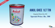 Shop Online for Amul Pure Ghee 1 Ltr Tin at Special Price from Kiraanastore.