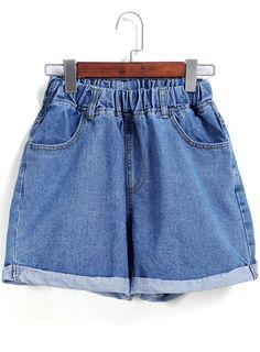Shorts en Denim taille élastique -bleu