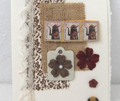 Mixed Media Collage Card  Any Occasion Card  by PrettyByrdDesigns, $5.00