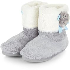 Teens Grey Teddy Bear Faux Fur Slipper Boots (155 BRL) ❤ liked on Polyvore featuring shoes and slippers