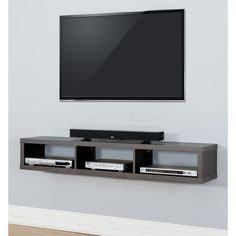 "Martin Home Furnishings 60"" Shallow Wall Mounted TV Component Shelf"