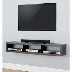 "Martin Home Furnishings 60"" Shallow Wall Mounted TV Component Shelf"