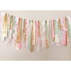 Pink Mint & Gold sequin curly fabric garland banner by ohMYcharley  Would like to use this as a window valence