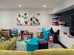 basements - Stark Ellipse Boucle Collection Black/White Rug pea green chenille sectional sofa black chalkboard accent wall playroom fatboy poufs