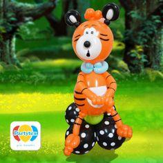 Figura de un Tigre elaborado con Globos R-12 y Mill figuras Partytex.