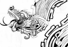 Interpretation of the Aztec feathered serpent god Quetzalcoatl. Possible tattoo idea.