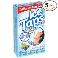 Ice Taps Blueberry Blast Oral Anesthetic, 12-Count Box (Pack of 5). Ice Taps is a fast-dissolving powder taken without water that melts in your throat.  The soothing menthol provides instant and lasting relief to dry, scratchy and irritated throats while the natural herbs like Enchinacea help keep the body healthy and strong.  Ice Taps is the first throat medicine to offer this unique delivery system.  The individual packs slip easily into a pocket or purse.  Just break open a packet and…