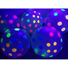 Glow In Dark Party, Glow Stick Party, Glow Sticks, Glow Party Food, Polka Dot Balloons, Clear Balloons, Latex Balloons, Polka Dots, Neon Birthday