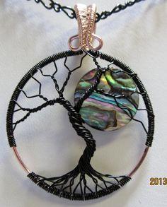 Abalone Full Moon Tree of Life Pendant