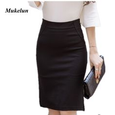 e94de69cd836c New Fashion Sexy Women Pencil Skirt Casual Slim Summer High Waist Split OL  Office Ladies Plus Size Bodycon Work Skirts Black-in Skirts from Women s  Clothing ...