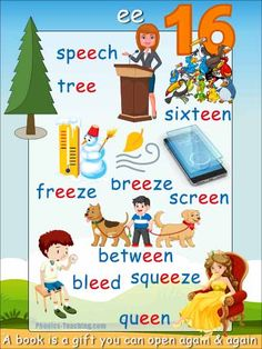 Words with ee in them poster - Free & Printable - Ideal for classroom books and phonics lessons Phonics Reading, Teaching Phonics, Phonics Activities, Teaching Kids, Kids Learning, Teaching Resources, Phonics Lessons, Phonics Words, Learn English Words