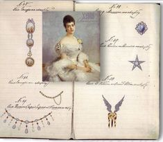 Jewels from the album of the Grand Duchess Xenia Alexandrovna. gifts for the wedding are known from the Kollection Jewelry of Grand Duchess ,Top left, taken with the No. 45, a 3-fold brooch with attached pocket watch, the elements are made of moss agate and diamonds, a loop crowns the topmost stone, they run in size towards the bottom of oval medallions to round, Such brooches were particularly made by Faberge, the fineness and quality work to also know that origin. ROYAL MAGAZIN